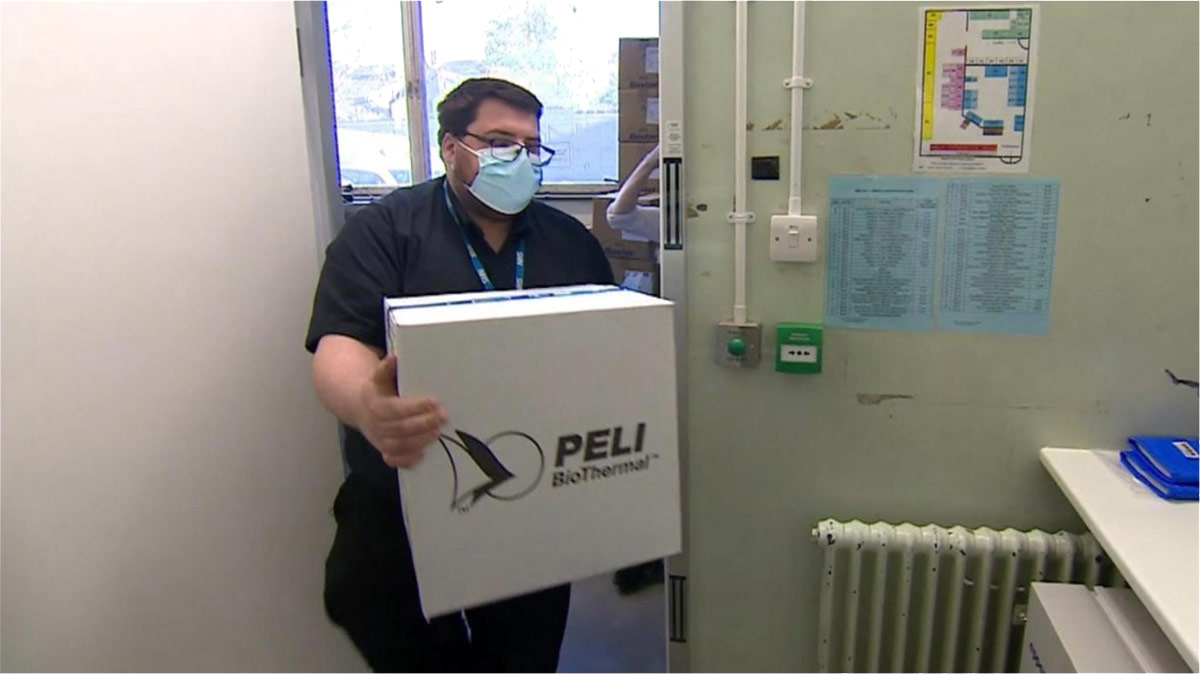 Pelican covid-19 vaccine arriving at UK hospoital