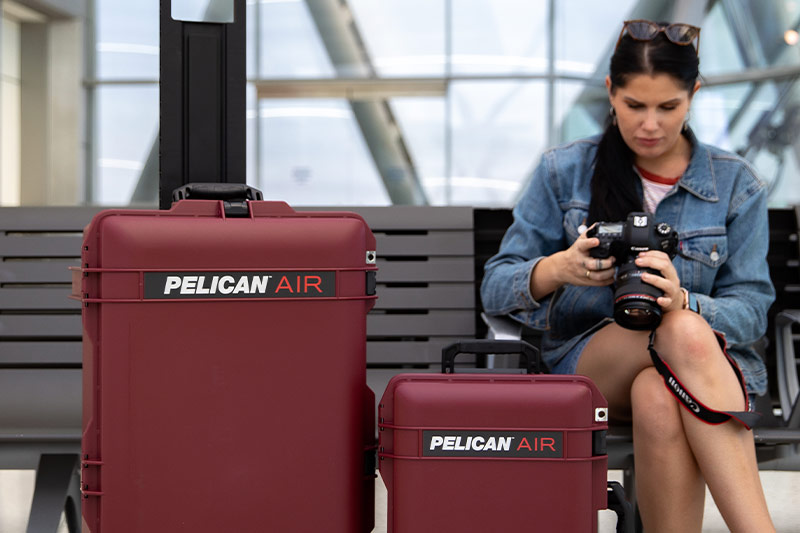 pelican air oxblood travel camera case