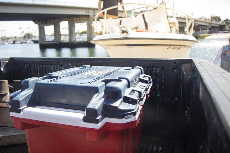pelican 50qt red white blue veteran cooler