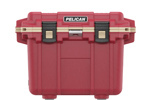 pelican 30qt beverage cooler red