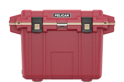 pelican 50qt camping cooler red