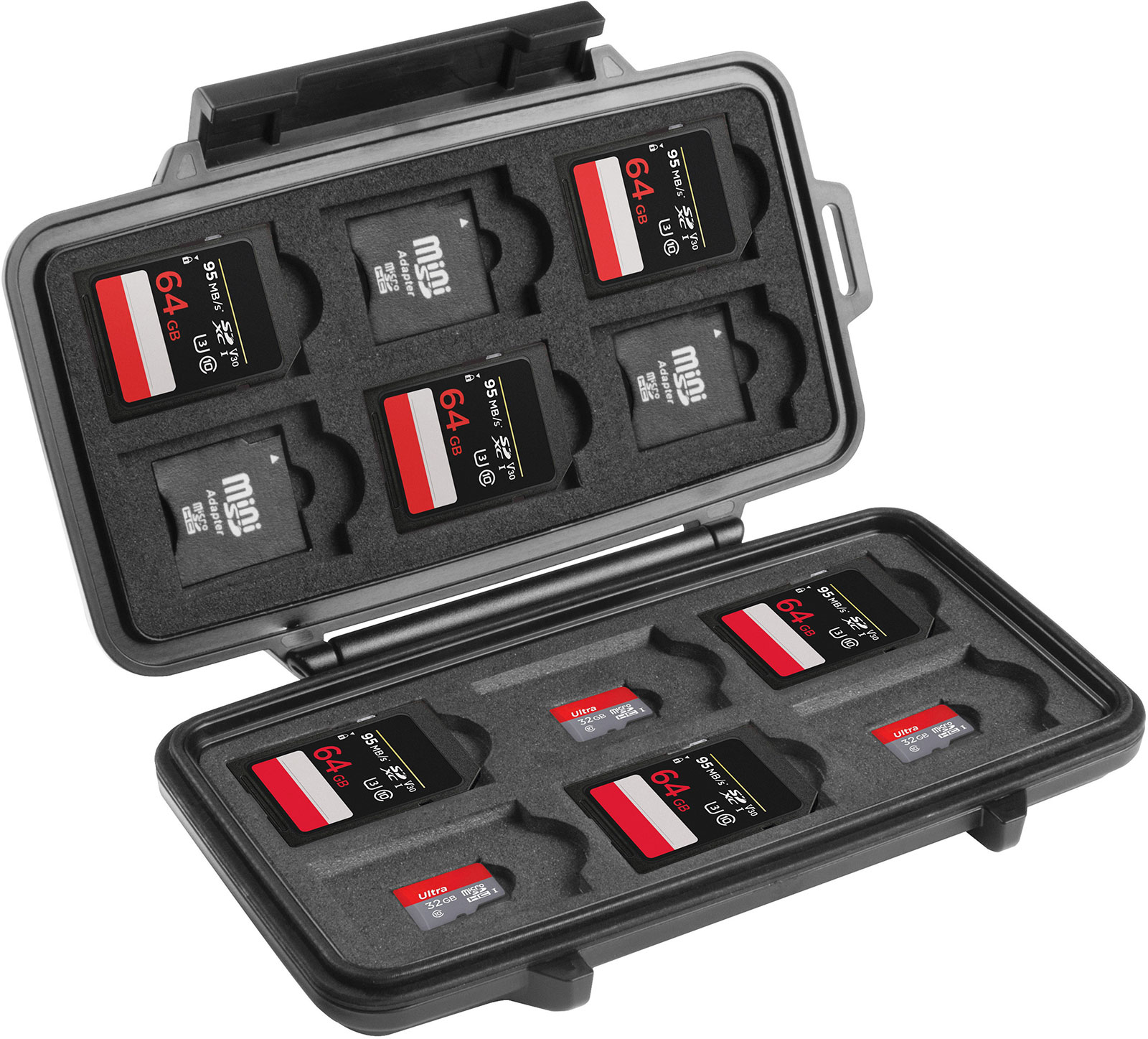 pelican peli products 0915 hard camera memory sd card case