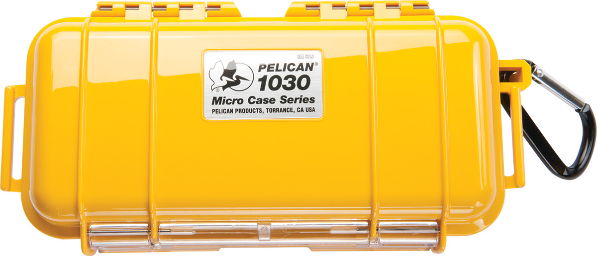 pelican 1030 waterproof rigid yellow micro case