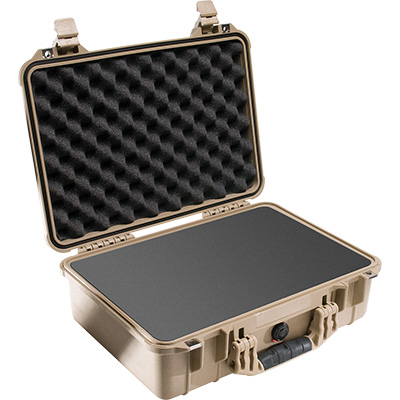 pelican 1500 tan foam waterproof case