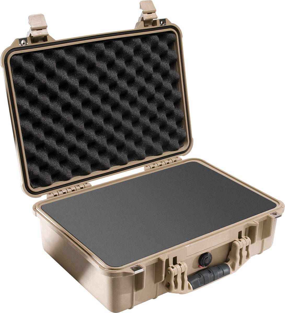 pelican 1500 tan foam waterproof case