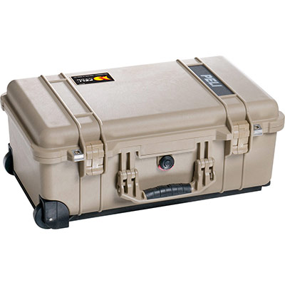 peli 1510 desert tan watertight carry on case