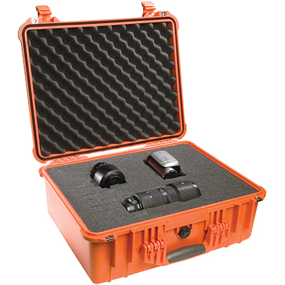 pelican orange hard waterproof camera case