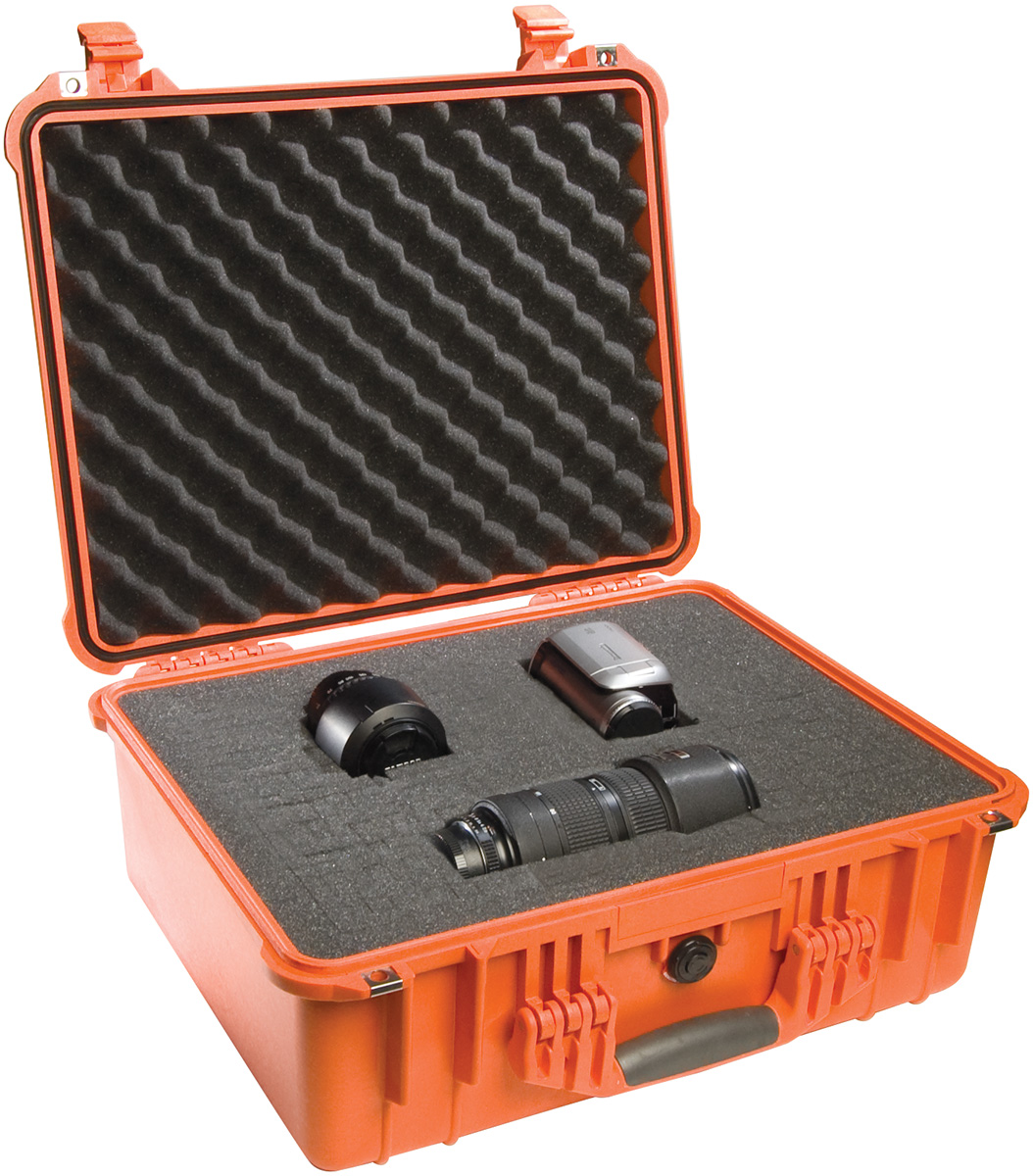pelican 1550 orange hard waterproof camera case