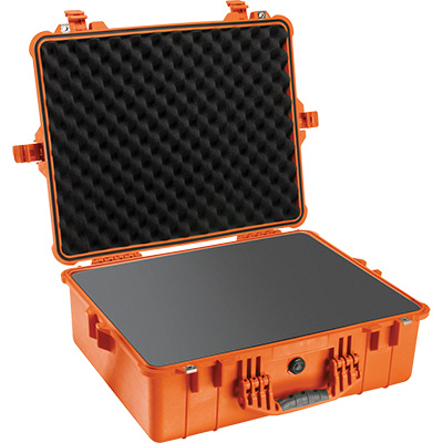 pelican 1600 orange watertight foam case