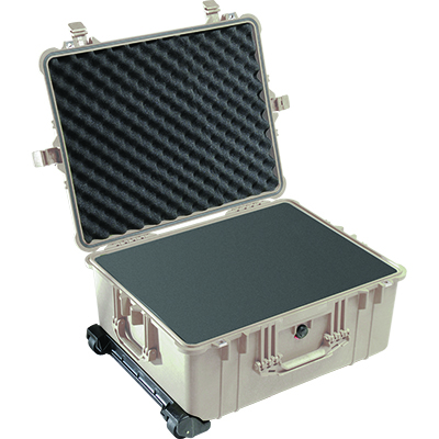 pelican 1610 tan foam wheeled rolling case