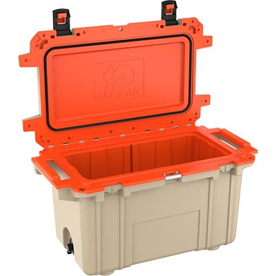 shop pelican 70qt buy outdoor cooler orange tan