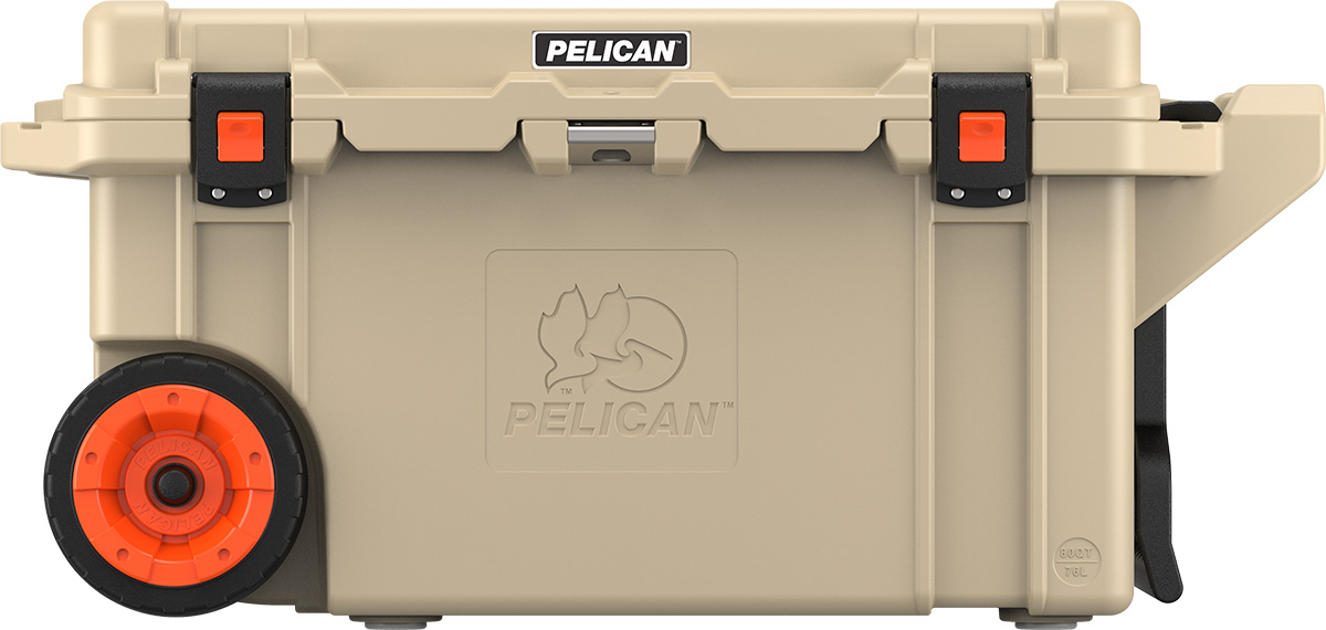 shop pelican 80qt buy hunting rolling coolers tan