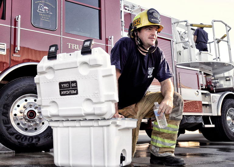 Pelican firefighter ems coolers fire cooler